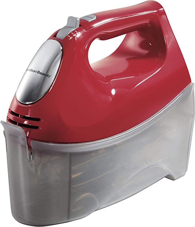 Hamilton Beach 6-Speed Electric Hand Mixer, Beaters and Whisk, 250W with Snap-On Storage Case, Red   Amazon