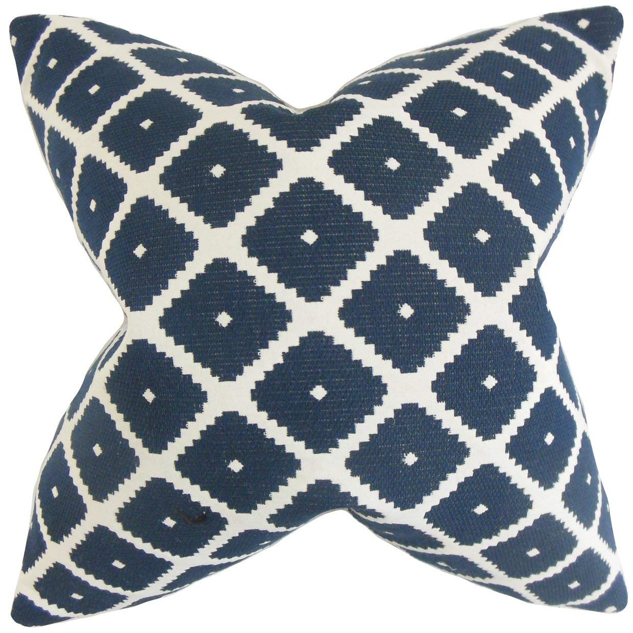 The Pillow Collection Fallon Geometric Blue Down Filled Throw Pillow