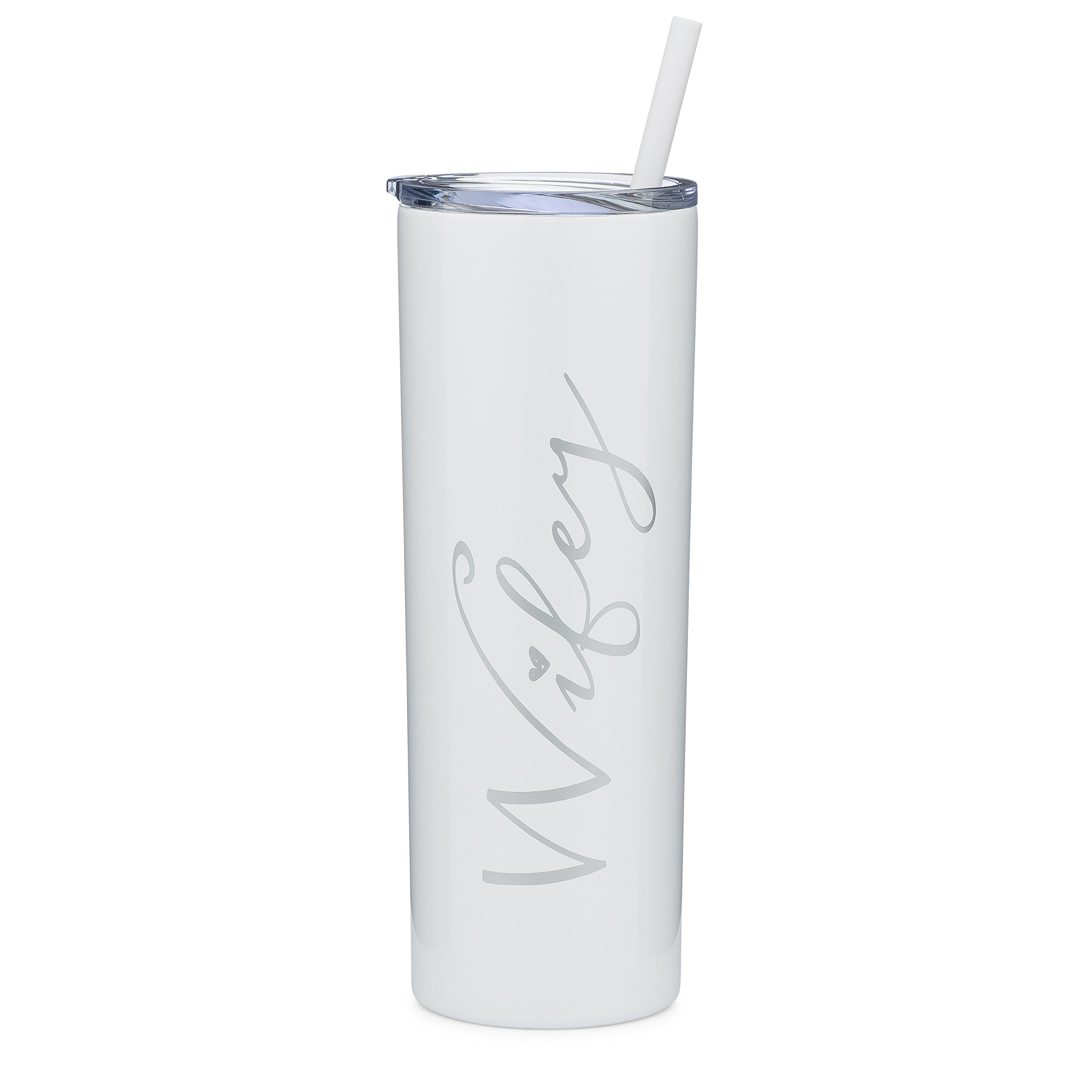 Wifey - 20 oz Stainless Steel Skinny Insulated Tumbler with Lid and Straw - Wife Gift, Bride Gift, Engagement Gift