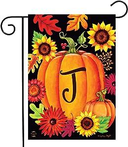 "Briarwood Lane Fall Pumpkin Monogram Letter J Garden Flag 12.5"" x 18"""