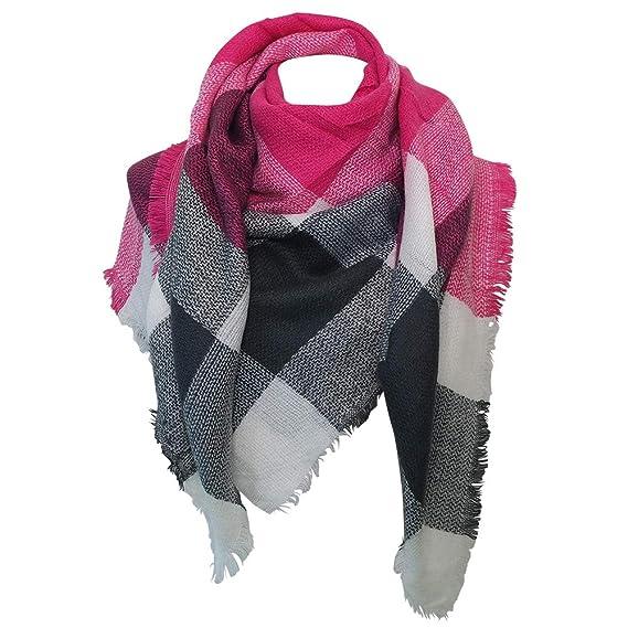 Chapeau-tendance - Echarpe carré XXL fushia et gris - - Femme ... bbf44493cef
