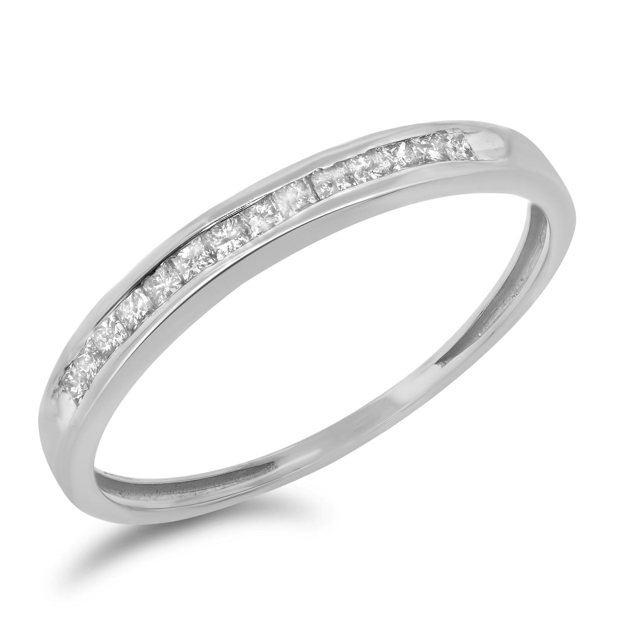 0.18 Carat (ctw) 10k Gold Princess Cut Diamond Ladies Wedding Band Channel Set Anniversary Ring 1/5 CT - White-gold, Size 8