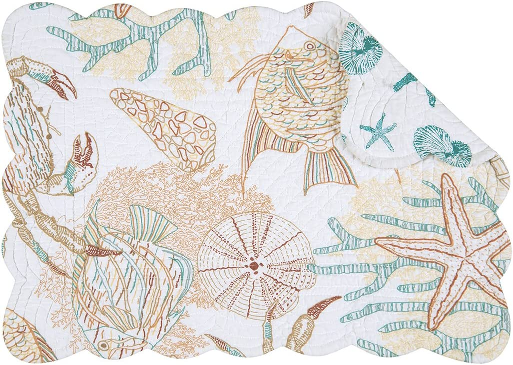 C&F Home Key Biscayne Coastal Nautical Sailing Tropical Beach Sea Life Handcrafted Rectangular Quilted Cotton Placemat Set of 4 Rectangular Placemat Aegean