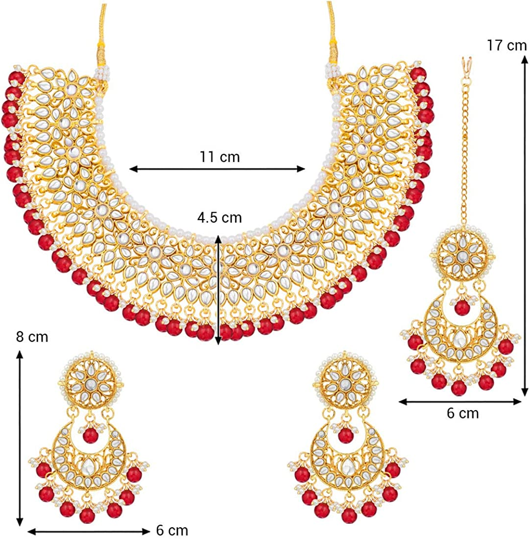 Aheli Indian Faux Kundan Beaded Strand Necklace Earrings Maang Tikka Set Bollywood Traditional Fashion Jewelry for Women