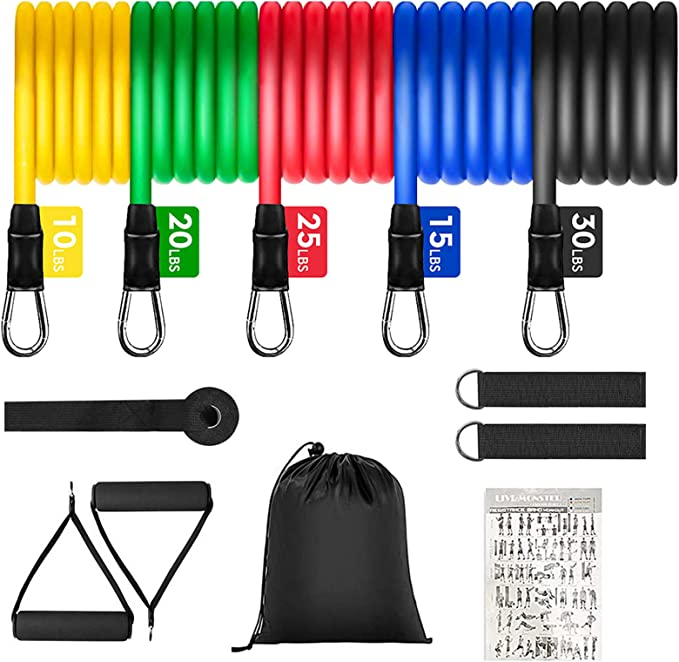 Chest - Perfect Muscle Builder for Arms Stackable Up to 100 lbs 5-Piece Exercise Bands Belly Leg FarSight Exercise Resistance Bands Set Portable Home Gym Accessories Back Glutes