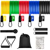 BAODANTECH Exercise Bands Set - with 5 Resistance Bands up to 100 lbs, Door Anchor, Handles, Waterproof Carry Bag, Legs…