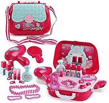 deAO Estuche de Maquillaje y Joyería de Juguete Playset en Maletín Bolso de Mano con Accesorios Incluidos (Cofre Maletín): Amazon.es: Juguetes y juegos