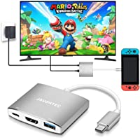 USB C to HDMI Hub Dock for Nintendo Switch, JAVONTEC USB Type C HDMI Adapter Converter with 4K HDMI, 2 USB 3.0, Power Delivery Compatible with MacBook Pro, HP Spectre, Samsung S8/Note 8, Silver