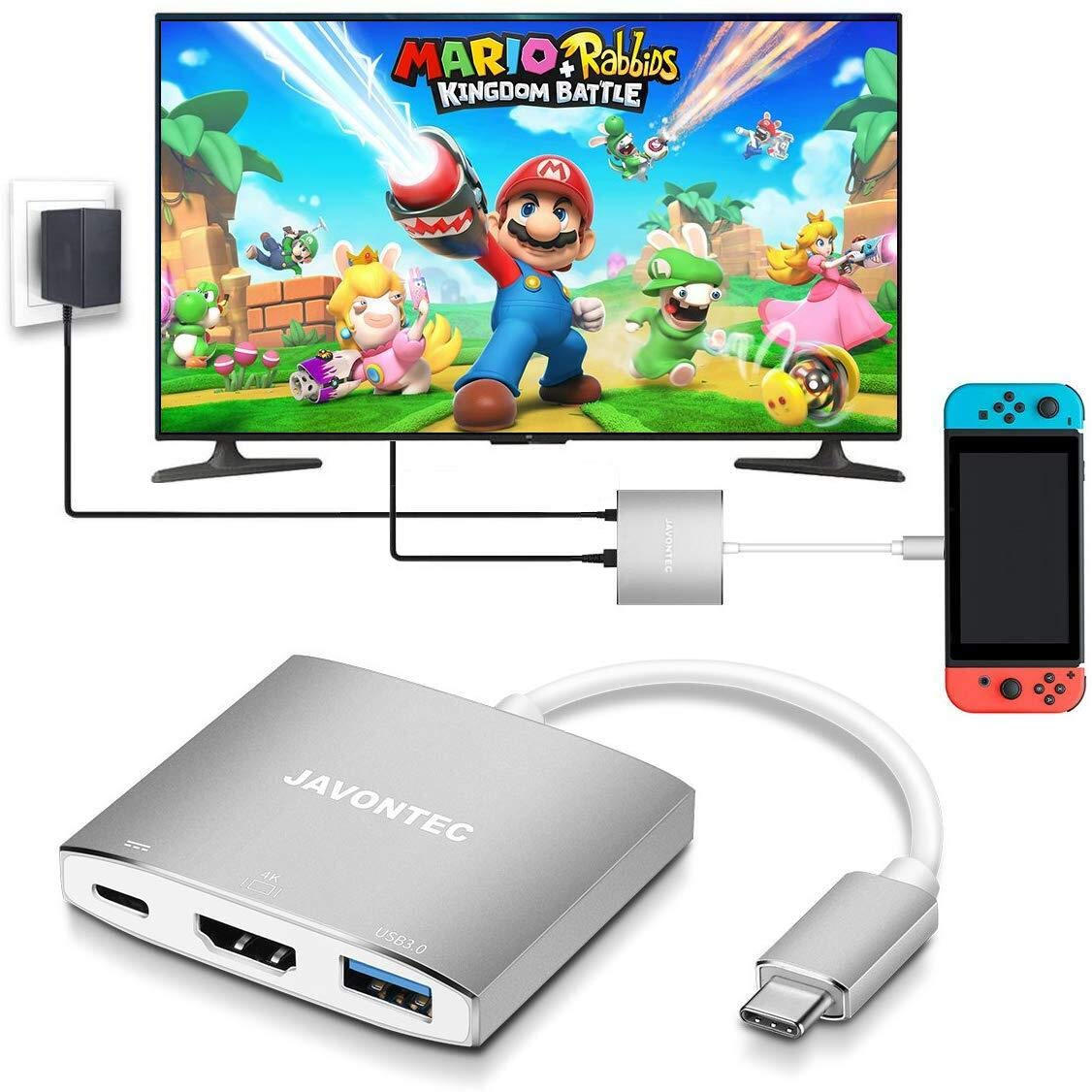 USB C to HDMI Hub Dock for Nintendo Switch, JAVONTEC USB Type C HDMI Adapter Converter with 4K HDMI, USB 3.0, Power…