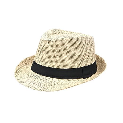 Suerhatcon Fedora Panama Straw Hats with Black Band for Summer Beach ... 9cc590b40f5
