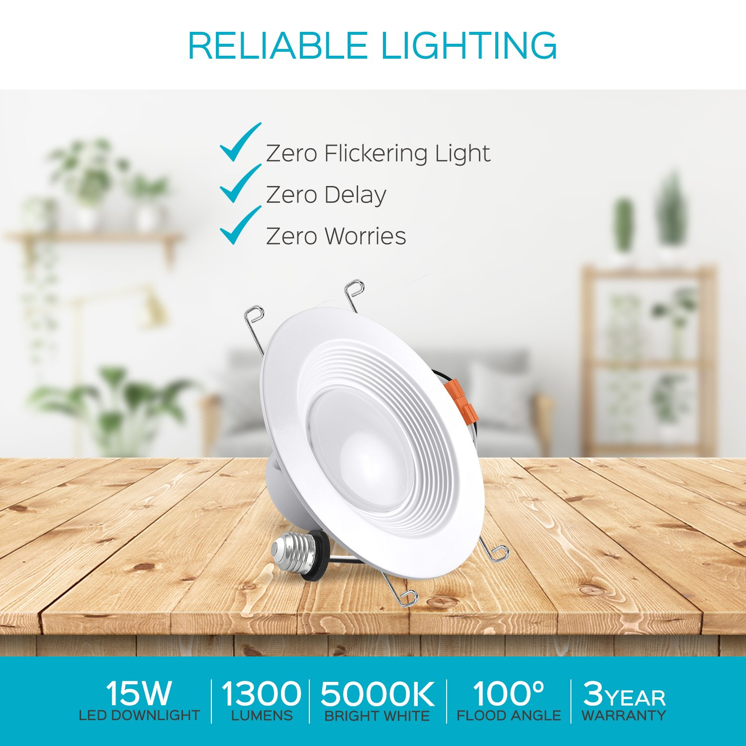 Luxrite 5/6 Inch LED Recessed Light, 15W (120W Equivalent), 5000K Bright White, 1300lm, Dimmable, Retrofit LED Can Light, Energy Star & UL, Damp Rated - Perfect for Kitchen, Bathroom, Office (4 Pack) by Luxrite (Image #8)