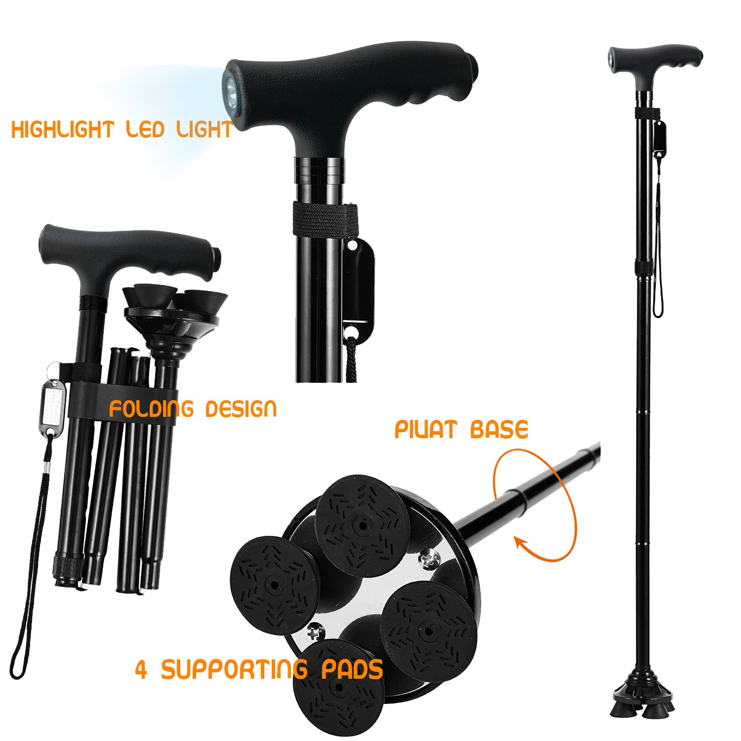 BigAlex Folding Walking Cane with LED Light,Adjustable & Portable Walking Stick, Lightweight,Collapsible with Carrying Bag for Men/Woman(Large) by BigAlex (Image #4)