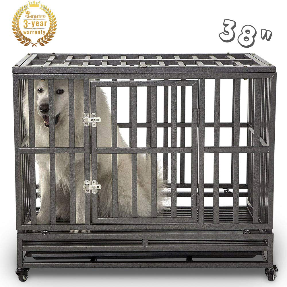 SMONTER 38'' Heavy Duty Strong Metal Dog Cage Pet Kennel Crate Playpen with Wheels, I Shape, Dark Silver ... by SMONTER