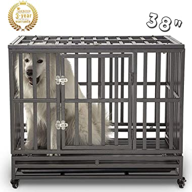 SMONTER Heavy Duty Dog Crate Strong Metal Pet Kennel Playpen with Two Prevent Escape Lock, Large Dogs Cage with Wheels …