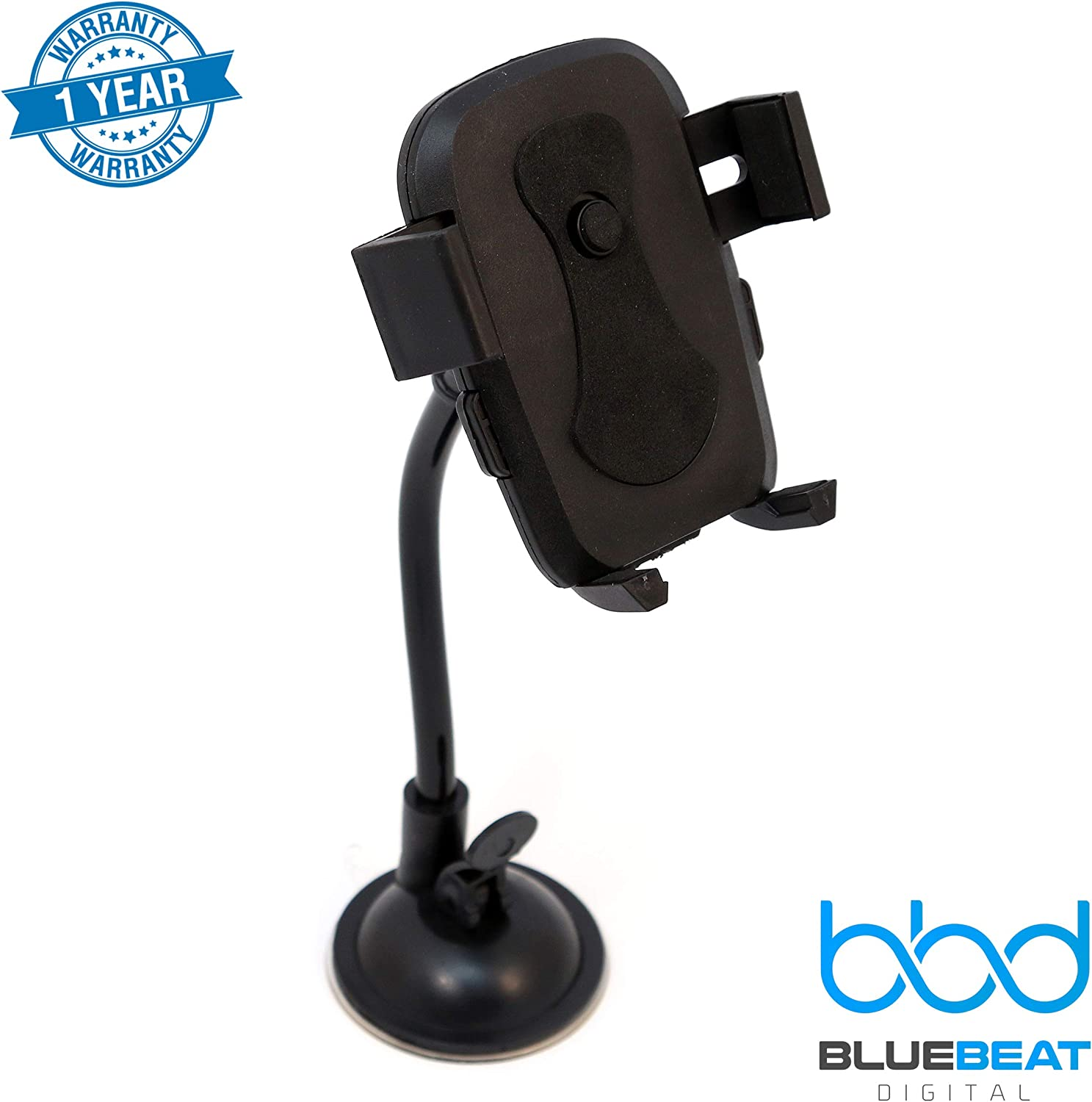 Black Car Phone Mount Android Moto Nokia Samsung LG Smartphones by Blue Beat Digital Pixel Easy One Touch Dash//Windshield Cell Phone Holder Universal Compatability for iPhone