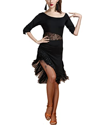 b61d6e09087b Rumba Latin Salsa Tango Ballroom Dance Practice Dresses Outfit with Fringe  Black