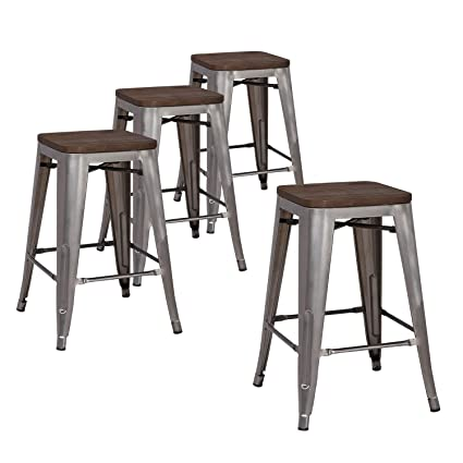 Astonishing Lch 24 Metal Industrial Counter Height Bar Stools Set Of 4 Backless Indoor Outdoor Stackable Stool Chairs With Square Elm Wood Seat Glossy Steel Ncnpc Chair Design For Home Ncnpcorg