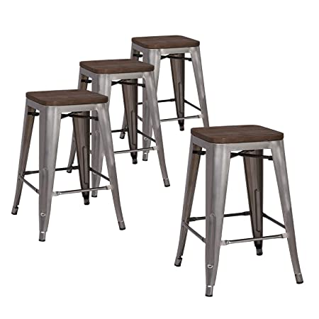 LCH 24 Metal Industrial Counter Height Bar Stools, Set of 4 Backless Indoor-Outdoor Stackable Stool Chairs with Square Elm Wood Seat, Glossy Steel