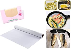 Korea Food Cooking Sheet Paper Foil Rolling Natural Pulp Kitchen Baking Mat Tools Oven Oil Paper(11.81 in x 32.8 ft) with SoltreeBundle Face Oil Blotting Paper 50pcs
