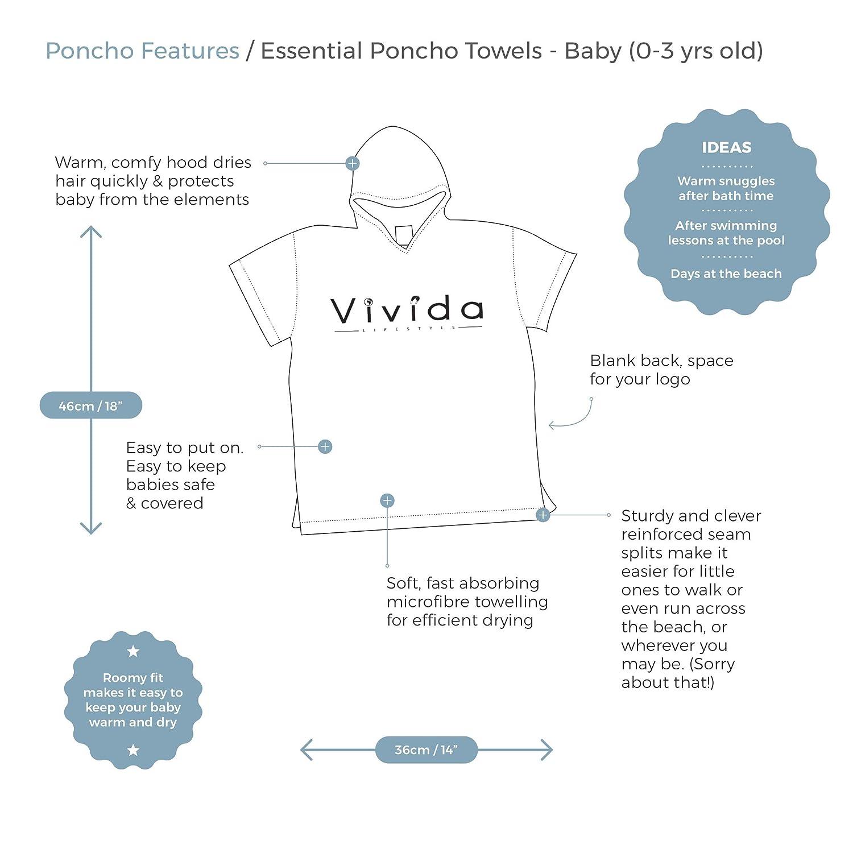Vivida Lifestyle - Poncho con Capucha para niños (Toalla para Cambiar, Playa, baño, natación, Ligero, Secado rápido): Amazon.es: Ropa y accesorios