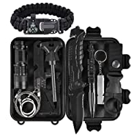 Kit de supervivencia al aire libre 11 en 1, herramienta de emergencia del engranaje de la supervivencia con el cuchillo, compás, manta de la emergencia, arrancador de fuego, linterna, silbido, pluma táctica etc para acampar, excursionismo, escalada, excursiones