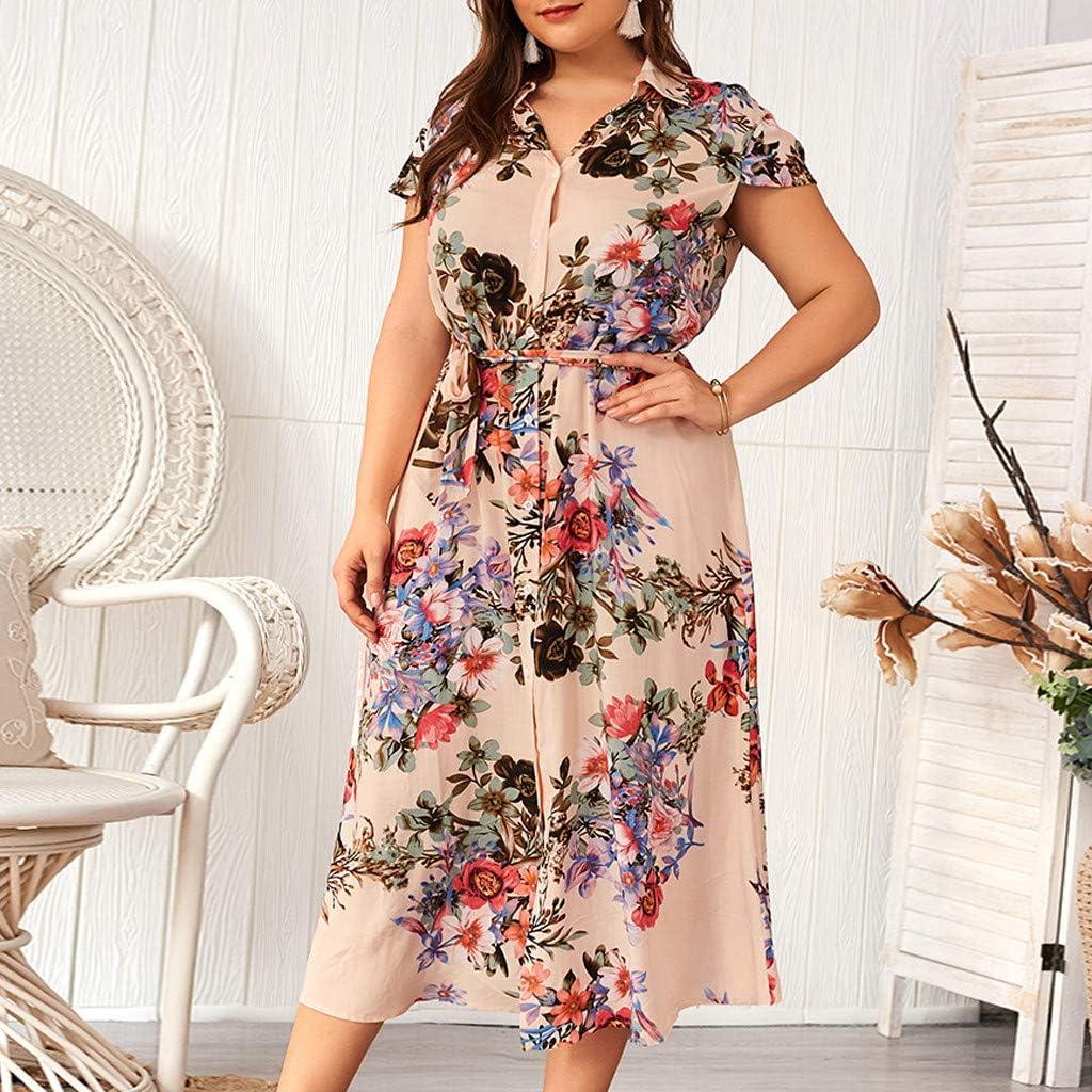 YFancy Womens Plus Size Maxi Dresses Summer Short Sleeve Lapel Button Casual Boho Floral Print Comfy V Neck Long Dress