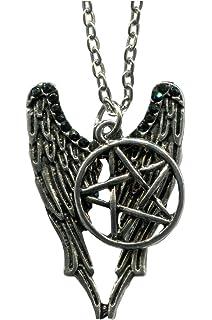 Amazon supernatural inspired bracelet retro bronze pentagram supernatural castiel wings protection symbol pendant aloadofball Choice Image