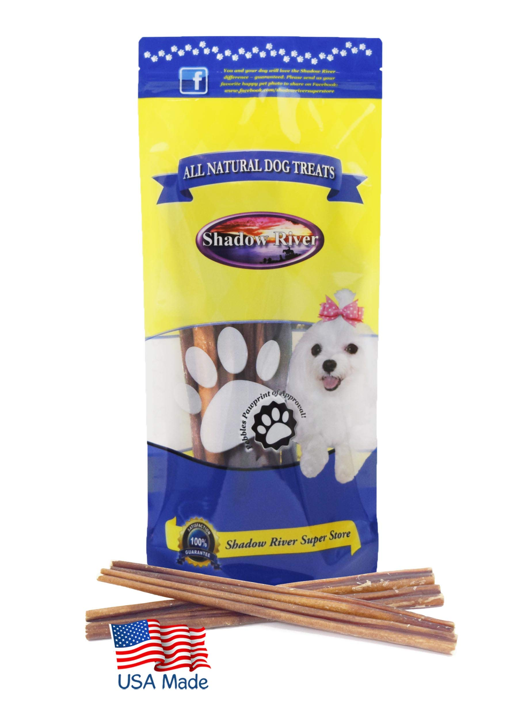 Shadow River 10 Pack 12 Inch Regular All Natural Beef Bully Sticks for Dogs
