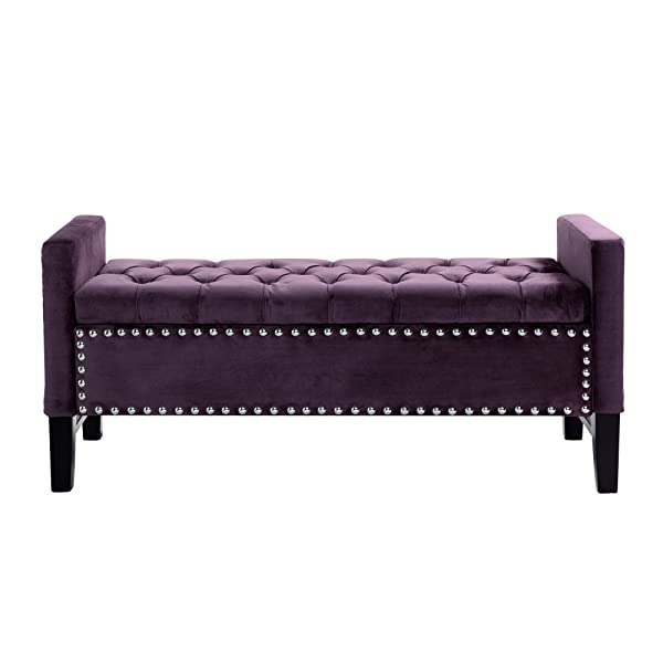 Inspired Home Columbus Velvet Modern Contemporary Button Tufted with Silver Nail Head Trim Multi Position Storage Bench, Plum