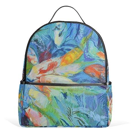 COOSUN Peces acuarela Pintura Escuela Mochila Ligera bolsa de mano Libro de las muchachas de los