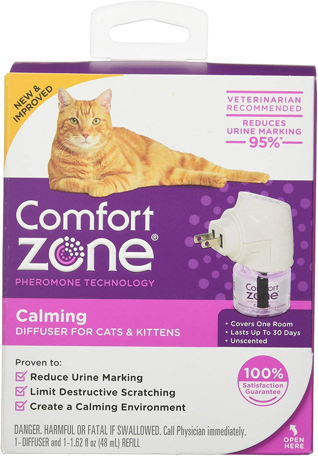 Comfort Zone Pheromone Cat Calming Diffuser 1 Count - (1 Diffuser & 1 Refill) - Pack of 2
