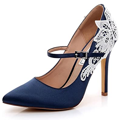 1fc807ec656 LUXVEER Lace Blue Mary Jane Highe Heel Shoes 4.5 inch -2064-Dark Blue-