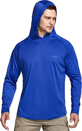 CQR Men's UPF 50+ Outdoor Long Sleeve Shirts, UV Sun Protection Loose-Fit Water T-Shirts, Performance Running Workout Shirt (Hoodie/Round Neck 2Type)