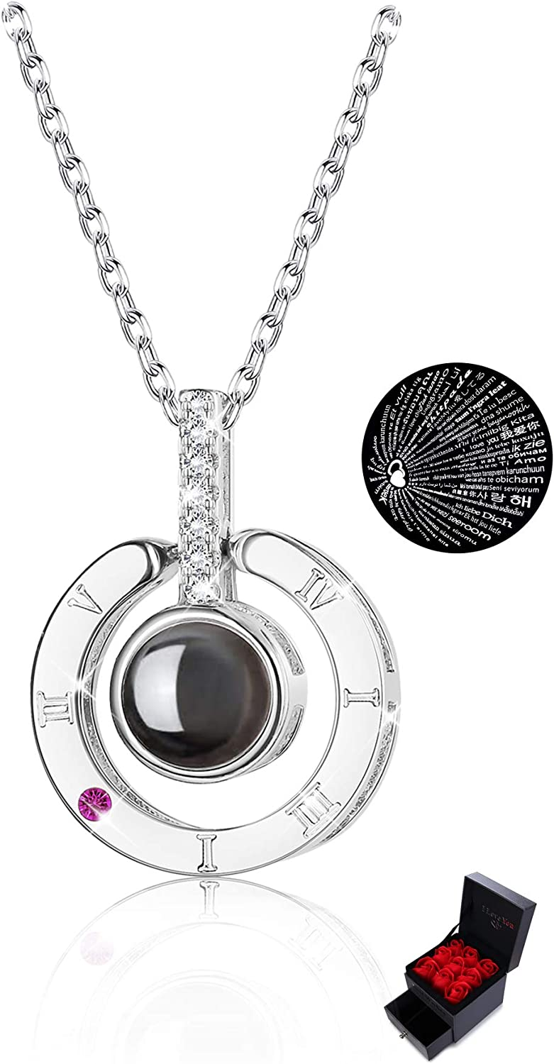 Sllaiss Made with Swarovski Zirconia 100 Languages Necklace for Women Men 925 Sterling Silver I Love You Necklace Memory Personalized Gift for Her