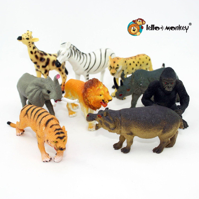 set of 9 boxed Lello /& Monkey Safari animal toy plastic figures