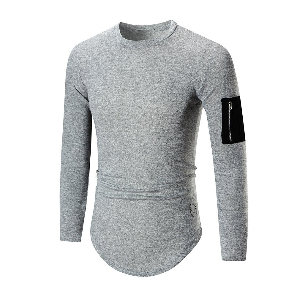 2018 Newest Mens Shirt ! Charberry Mens Zippered Sweatshirt Tops Jacket Coat OutwearSleeve Long Sleeve T-Shirt (US-S/CN-M, Gray)