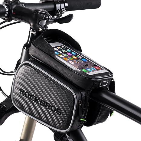 Waterproof Cycling Bicycle Frame Pannier Bag Bike Front Tube Phone Bag 6.2 inch