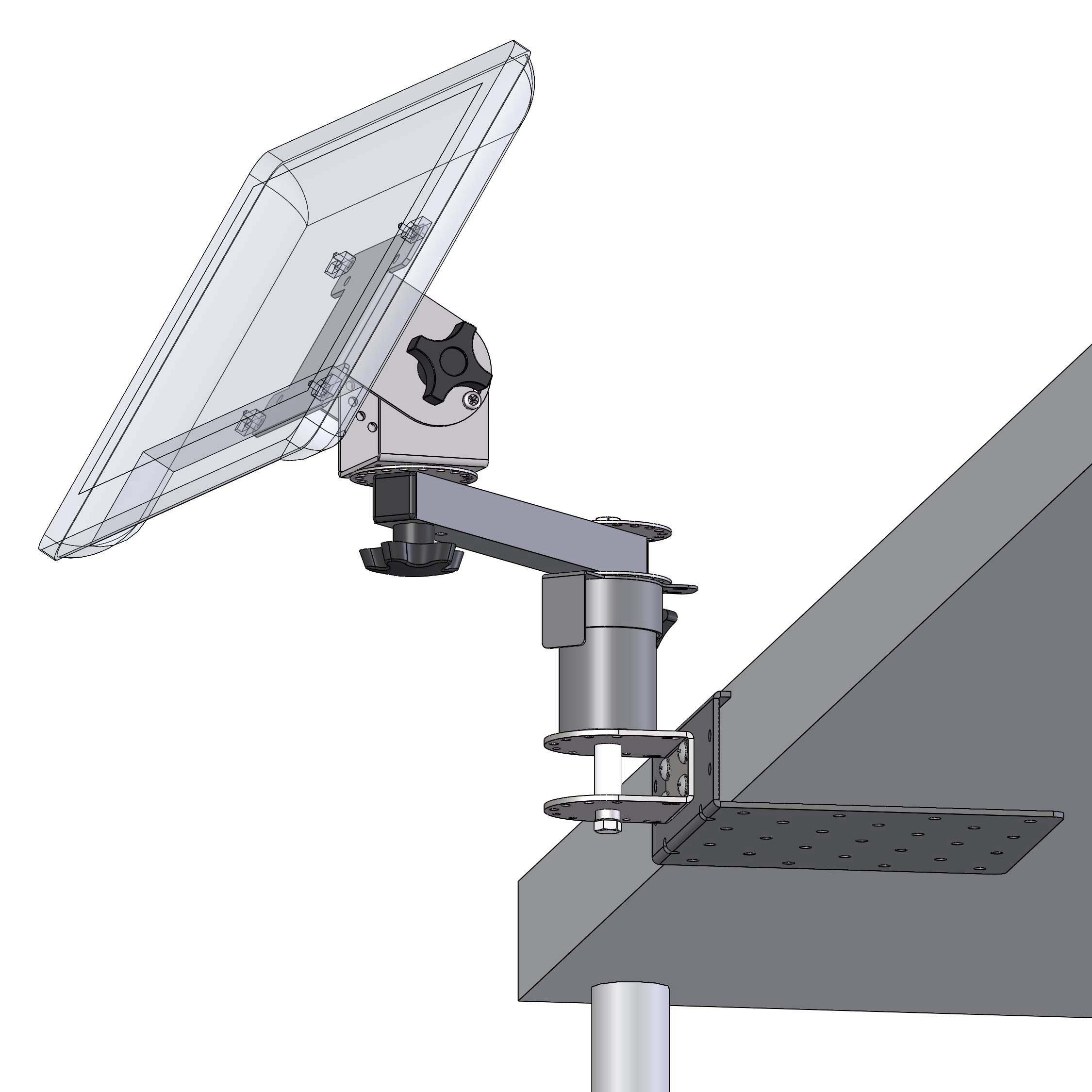 Montaje debajo del mostrador con un elevador de 3 pulgadas, un brazo de 8 pulgadas y un cabezal de giro e inclinación de pantalla compatible con VESA de 75/100 mm PQS PN 80241