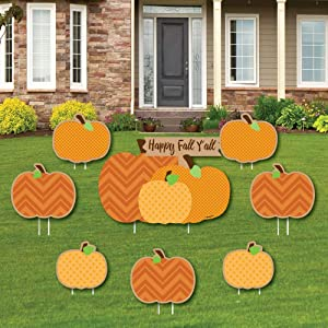 Big Dot of Happiness Pumpkin Patch - Yard Sign and Outdoor Lawn Decorations - Fall, Halloween or Thanksgiving Party Yard Signs - Set of 8