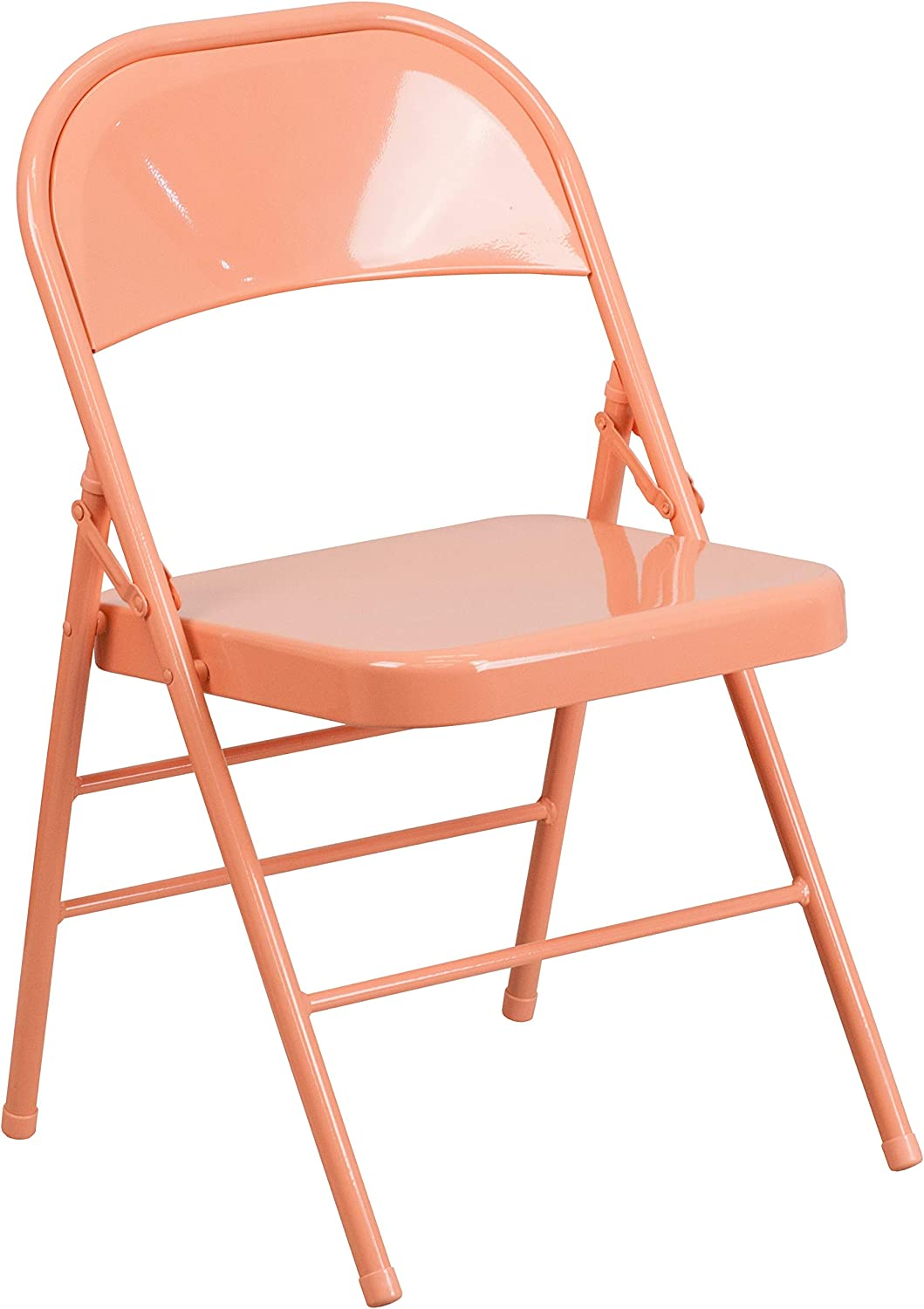 Flash Furniture HERCULES COLORBURST Series Sedona Coral Triple Braced & Double Hinged Metal Folding Chair