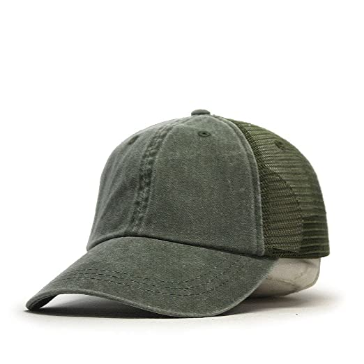 Vintage Washed Soft Mesh Adjustable Baseball Cap (Olive Green) at ... d8febceede0