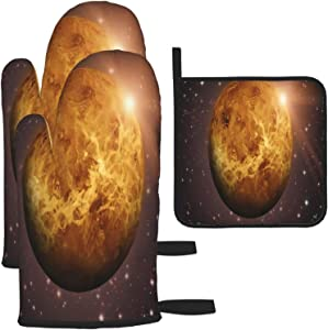 Planets for Kids Oven Gloves and Pot Holders Heat-Resistant Food-Grade Kitchen Insulation Gloves Suitable for Cooking Baking Grilling