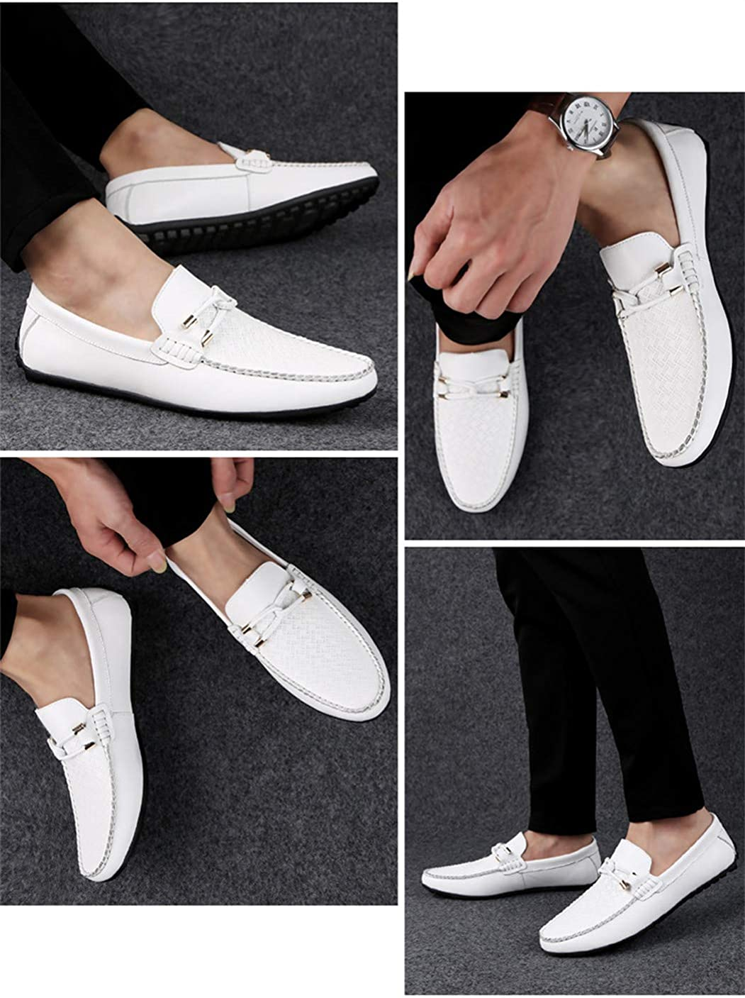 Mens Shoes Classic Shoe Driving Shoes Fashion Man Genuine Leather Loafers White 8.5M US