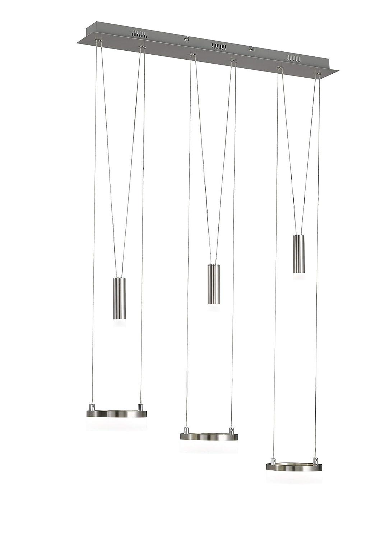 WOFI Pendelleuchte, Metall^Acryl, Integriert, 25.5 W, H  150 cm x B  15 cm x L  78 cm