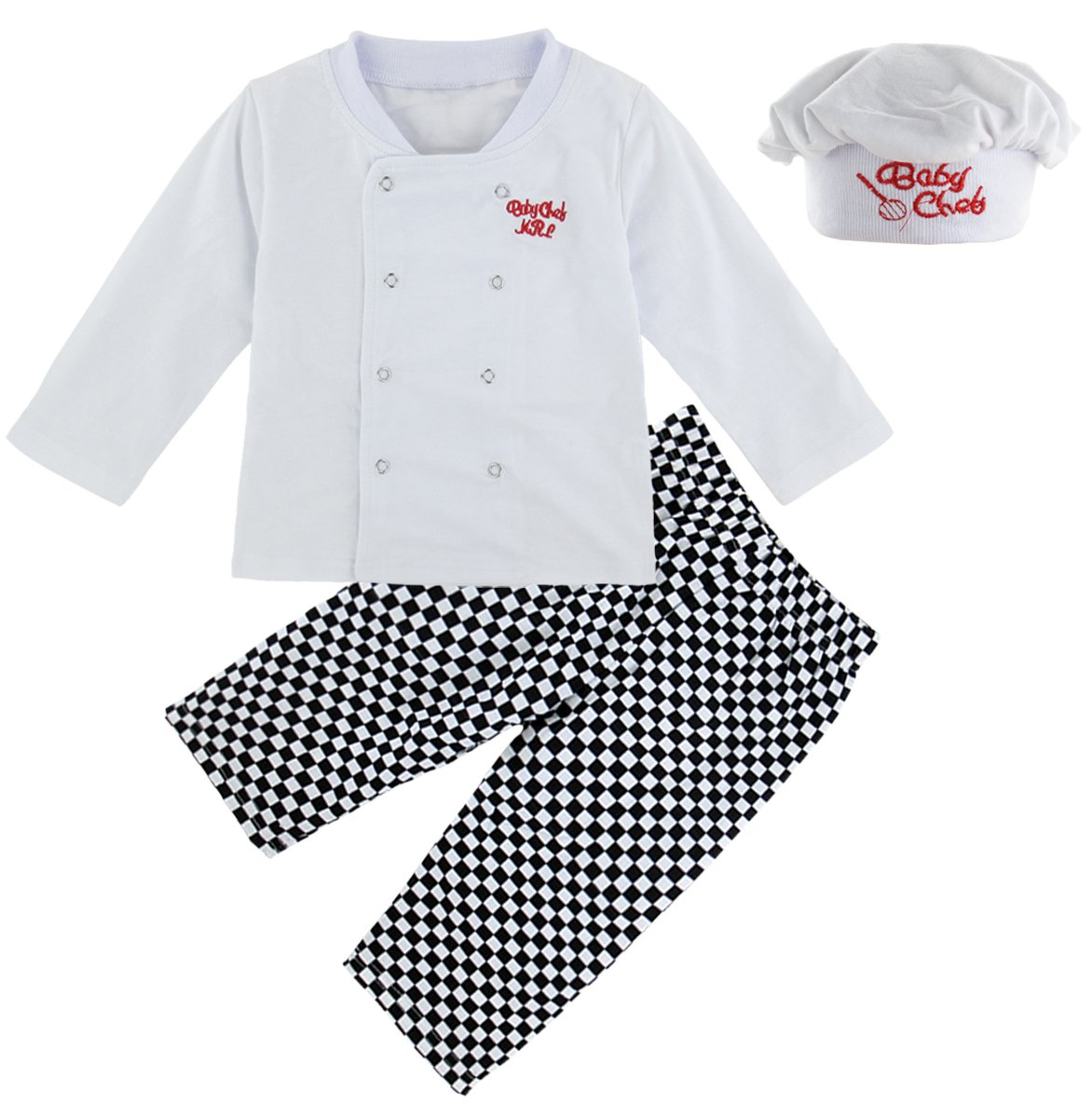 Mombebe Baby Boys' 3 Pieces Chef Long Clothing Set with Hat (0-6 Months, Chef)