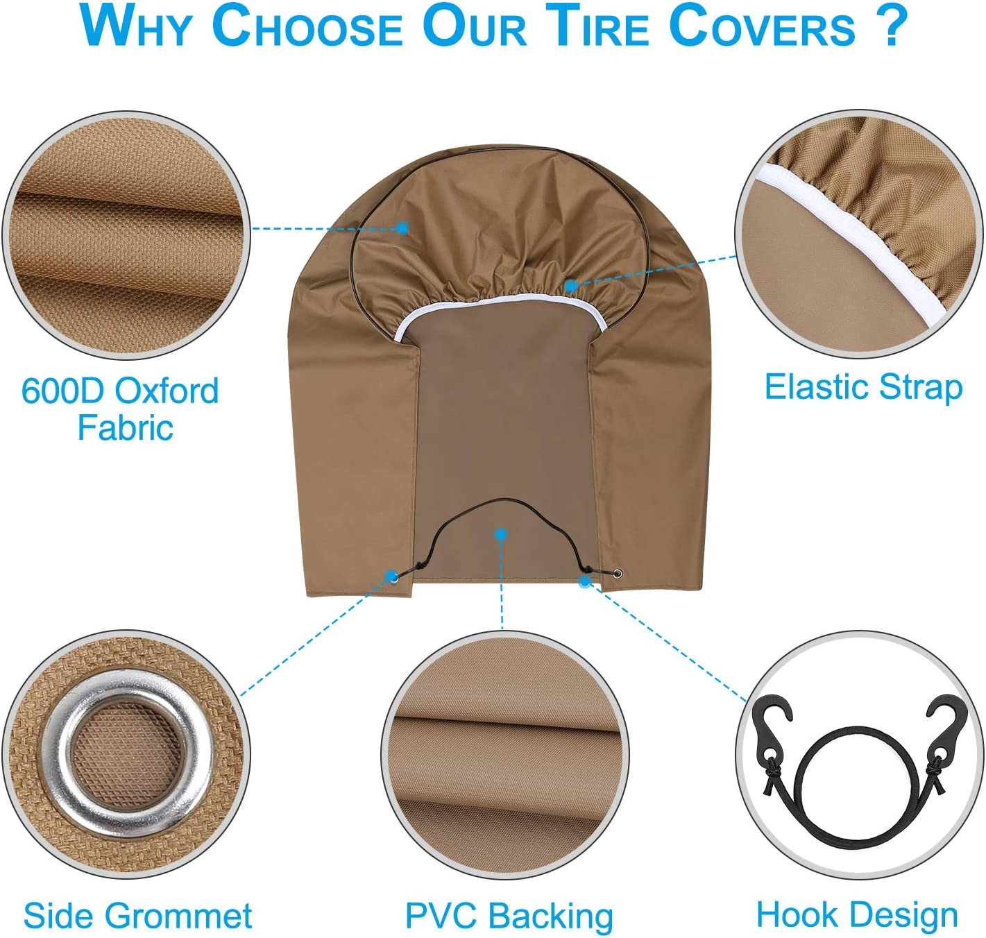 Tire Covers for RV Wheel Fonzier Set of 4 Motorhome Wheel Covers Waterproof Oxford Cotton Tire Protectors Fits 26.75-29 Tire Diameters for Trailer Camper Truck Auto
