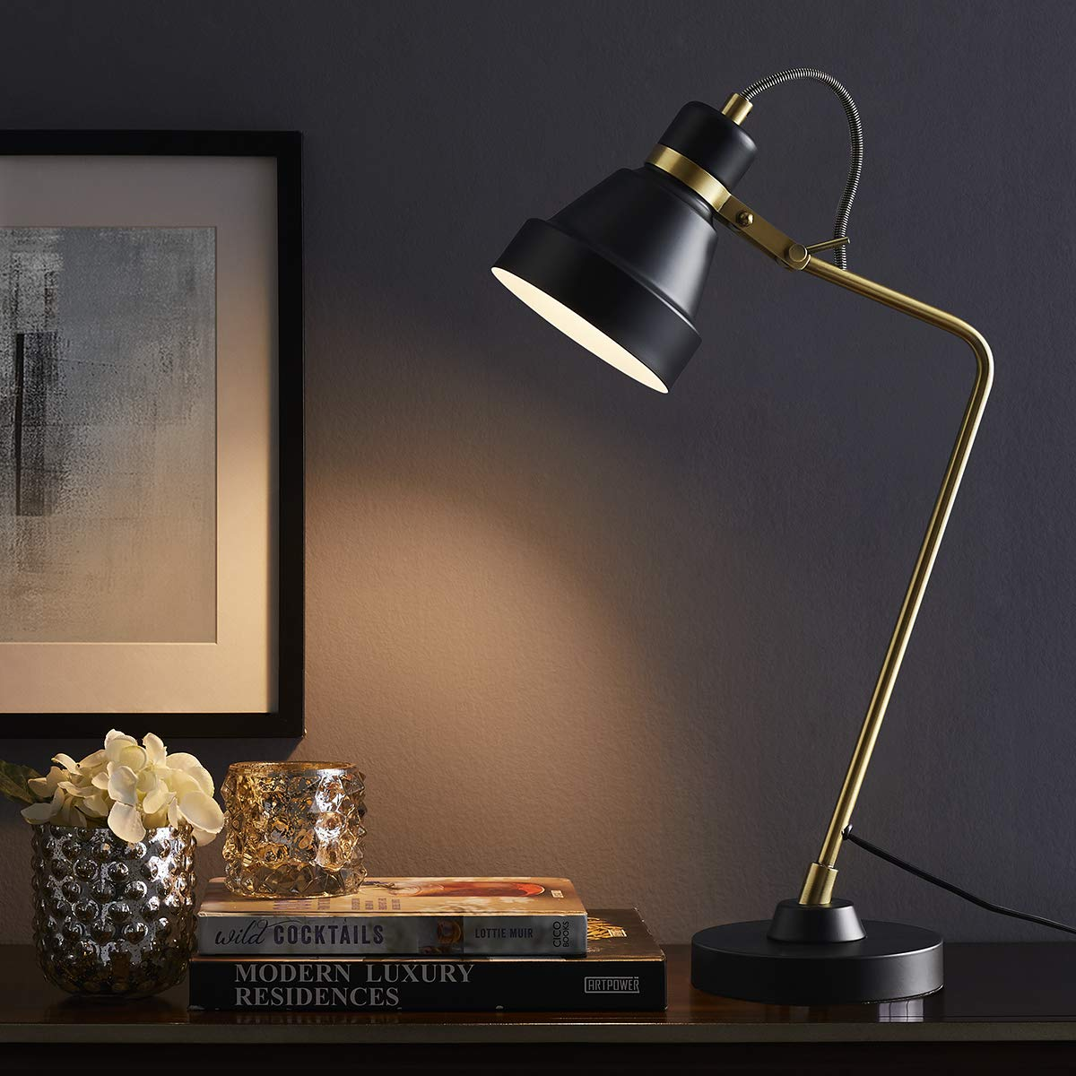 ARPENTER Modern Table Reading Desk Lamp for Bedroom, Living Room, Study, Office, 100 Metal Bedside Nightstand Lamp, 22 High with Adjustable Shade, Antique Brass with Black Task Industrial Table Lamp