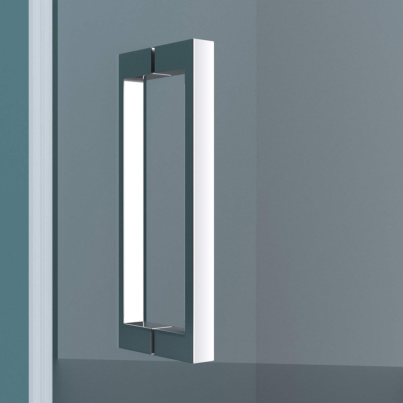 Mai/&Mai porte de douche pivotante 180/°auto-levante paroi de douche pour niche 75x195cm en verre ESG transparent de 6mm avec rev/êtement Nano entr/ée droite Ter24K