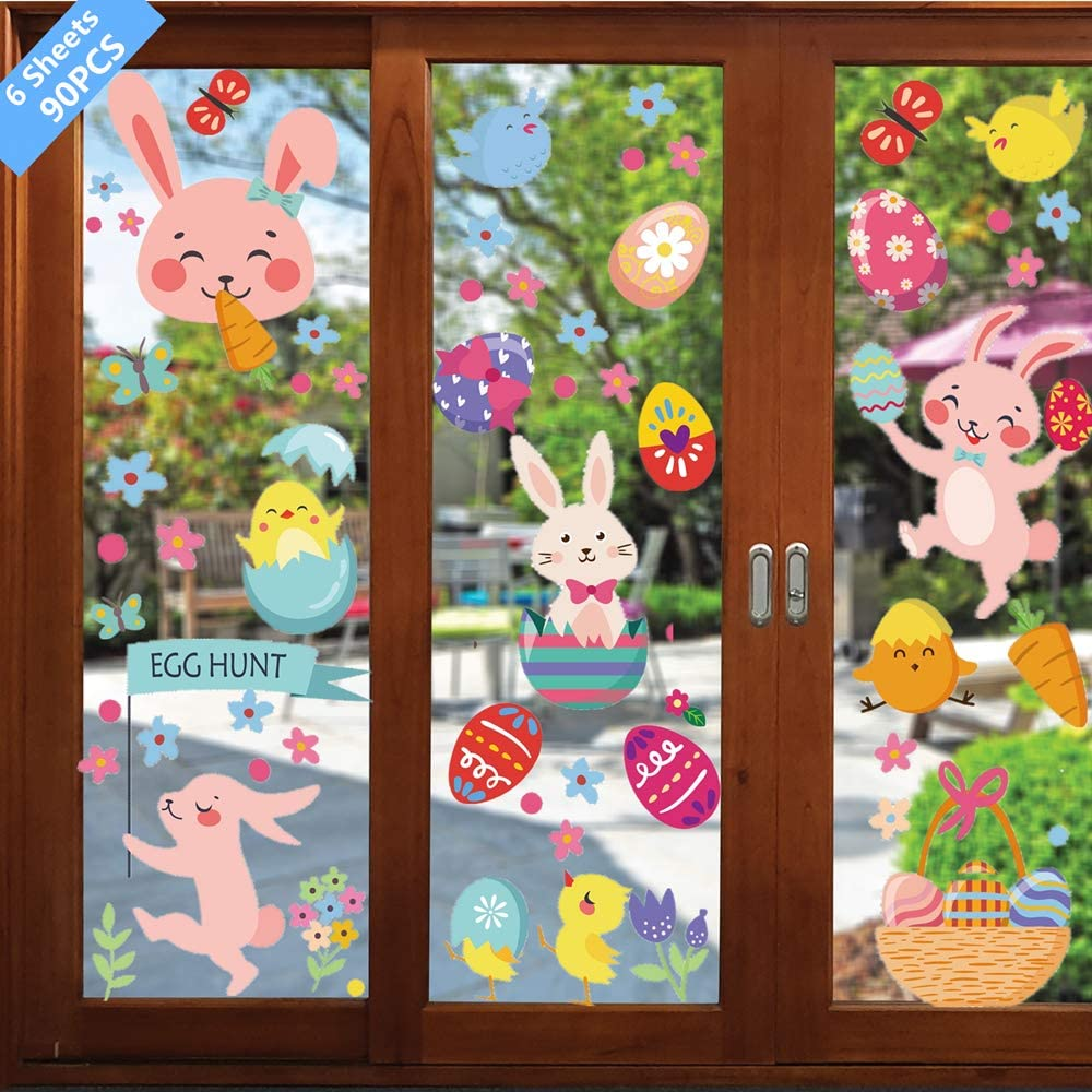 6 Sheets 90 PCS Easter Decorations Window Clings Decals Decor, Kids School Home Office Extra Large Easter Eggs Hunt Bunny Carrot Flowers Accessories Party Supplies Gifts