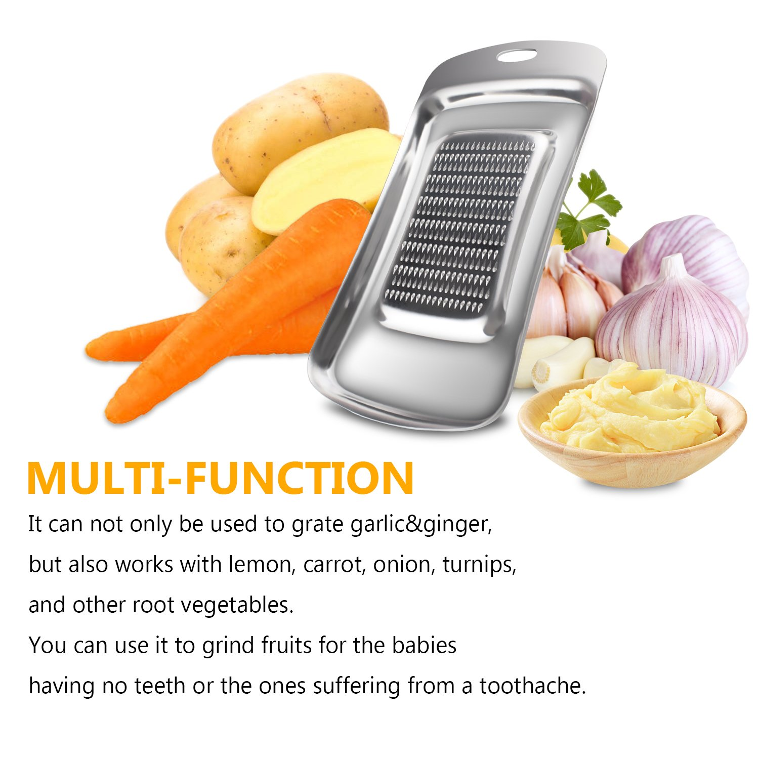 Sharp Blade Zester with Safety Cover for Lemon,Ginger,Cheese,Garlic,Red Handle Besiva Stainless Steel Grater